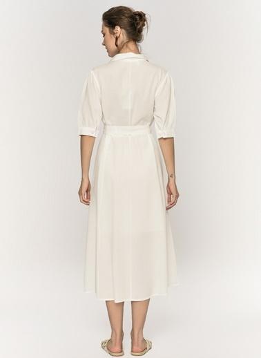 Loves You Astarlı Midi Boy Gömlek Elbise Beyaz
